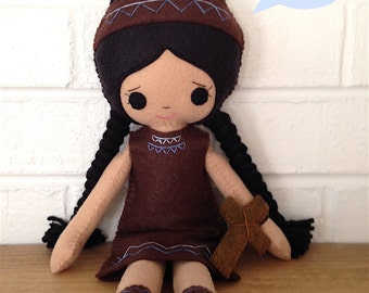 Catholic Toy Doll - St. Kateri Tekakwitha - Wool Felt Blend - Catholic Toy - Felt Doll