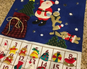 Fabric Santa ADVENT Calender Count down to christmas  Machine quilted with satin ornaments