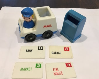 Vintage Fisher Price Mail box and mail carrier vehicle Post Office  rare bank mail