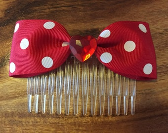 Red and White Polka Dot Hair Comb/Bow with Red Heart Centre