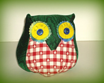 Colorful Stuffed OWL Toy, Handmade Holiday Decoration, Thanksgiving Christmas Gift, Owl Decor Plushie One of a Kind, Big Eyed Bird Softie