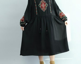 Women Waist drawstring long dress Cotton doll dress in blue/ black