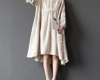 large size Cotton and linen loose fitting Linen color asymmetrical dress