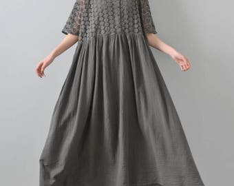 Wine red/ gray long dress cotton double Maxi Dress