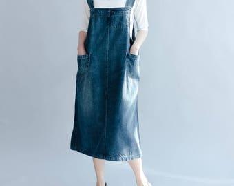 summer Blue denim vest skirt Leisure strap skirt