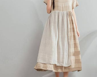women Summer clothes Long Cotton and linen dress