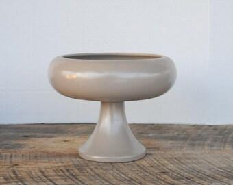 Vintage Haeger Pedestal Vase or Planter Tan Matte Finish