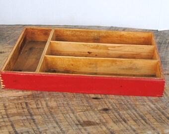 Vintage Red Wooden Utensil Storage Divided Storage Box Bin