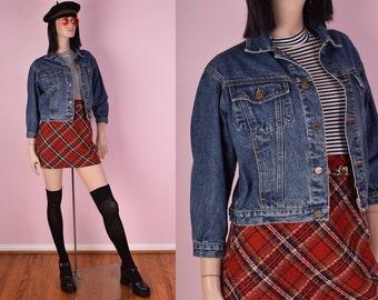 90s Blue Denim Cropped Jacket/ Small/ 1990s/ Jean Jacket
