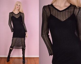 90s Black Mesh Long Sleeve Dress/ Small/ 1990s/ Goth/ Sheer