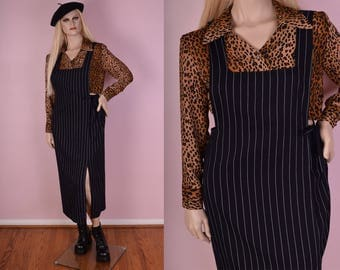 90s Striped Jumper Dress/ Large/ 1990s