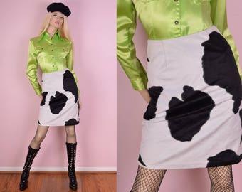 90s Fuzzy Cow Print Skirt/ US 3-4/ 29 Waist/ 1990s