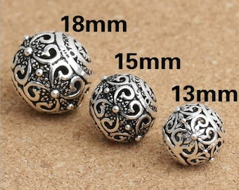 1pc 13/ 15/ 18mm 925 Sterling Silver ball Beads, hollowed butterfly beads , Antique Silver Flower Bead