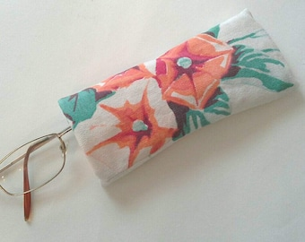 Orange Morning Glory Upcycled Eyeglass Case Sunglasses Holder