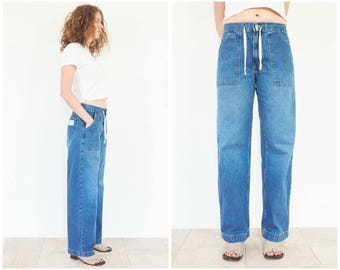 90s DKNY Relaxed Low Rise Denim Blue Jeans / 30 Waist