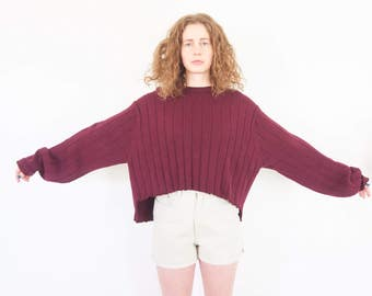 90s Cropped Oversize Rib Knit Sweater / Grunge Jumper