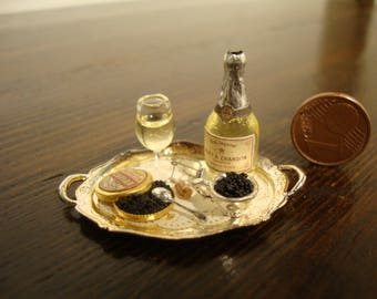 miniature dollhouse luxury Tray with champagne and caviar