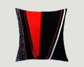 "Decorative Pillow Case, Black Throw pillow case with Abstract Red, Black, Silver accent, fits 18""x18"" insert, Toss pillow case."