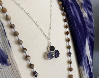Purple Druzy Necklace // Sterling Silver Chain, Round Circle Trio Pendant, Raw Crystal Stone, Delicate Summer Layer, Mineral Rock, Boho Gift