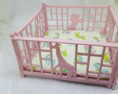Pink  Play pen for Baby Miniature  Doll House Toy  Nursery baby cage