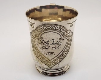 Antique Victorian silver plate christening cup for Little Teddy , April 23rd 1898 by William Wheatcroft Harrison of Sheffield England