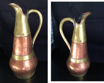 "Hammered copper pitcher ewer with brass beaten copper 11-5/8"" high vintage antique copper ewer"