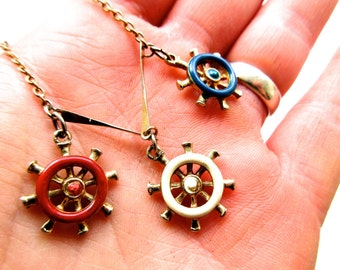 Vintage 1960s Nautical Ship's Wheel Red, White, & Blue Necklace