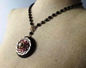 LONG LAYERING Vintage Rosary and Button Necklace Jewelry:  Brown and Pink Flower