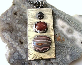 """Crazy Lace Agate, Peach and Gray Moonstones """"Stoplight"""" Pendant in Sterling Silver Necklace Jewelry"""