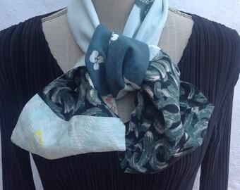 Vintage Kimono silks infinity scarf.  FREE SHIPPING