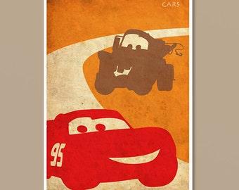 Pixar Cars Vintage Minimalist Movie Poster Print