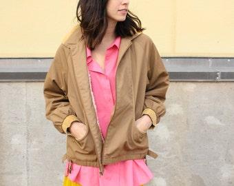vintage camel sherpa lined bomber jacket