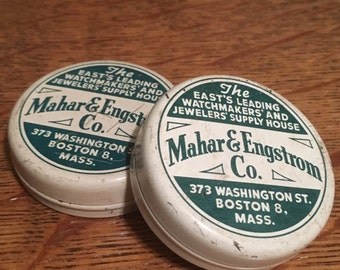 Vintage Mahar & Engstrom Watchmaker Tin Boston Mass Size Large - 2""