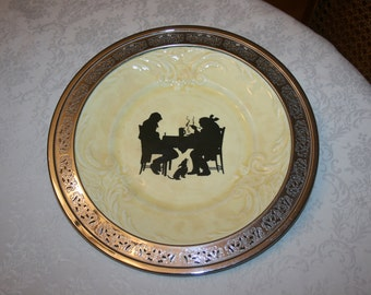 Unique Vintage Provincial Ware Serving Plate Silhouette Tavern Colonial Two Men Dog Pattern with a Forman Bros Silver Edge