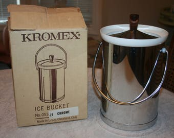 Vintage Kromex Chrome Silver Tone Ice Bucket Original Box 1960s