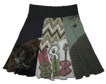 Upcycled Skirt Women's Large XL Boho Skirt Hippie Skirt Festival Skirt 12 14 recycled t-shirt clothing Musician Twinkle Skirts Twinklewear
