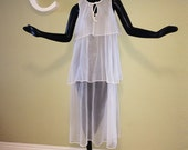 Vintage 60s Burlesque Gown Pin Up Bombshell White Sheer See Through Transparent Sexy Nightie Peignoir 1950s 1960s Mad Men Era Lingerie