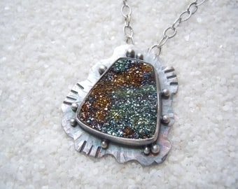 Rainbow Pyrite Necklace Artisan Jewelry Sea Necklace