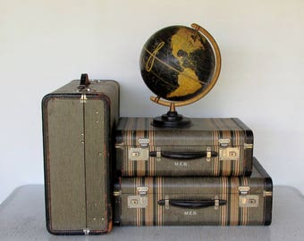 1940s Set of 3 Tweed Suitcases Striped Matching Luggage Excellent Condition Hard Side
