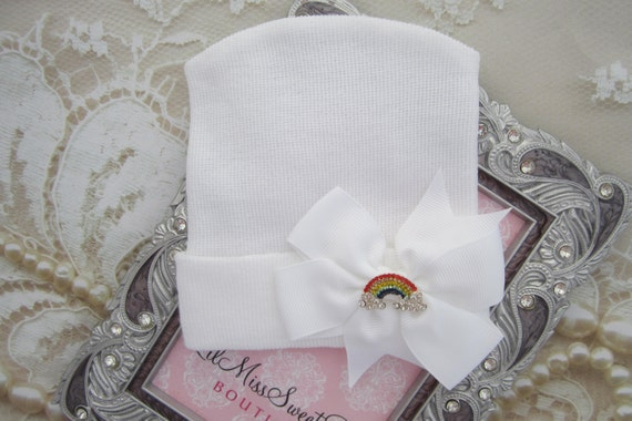 Rainbow Baby Hospital Hat, white newborn hat, baby hat, hat with matching bow, fabric bow, bebe, foto, take home hat, by Lil Miss Sweet Pea