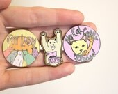 Three Enamel Pins- Cat Lady, I adopt and No Cat Calls