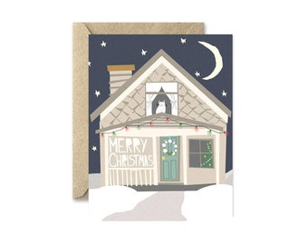 Cat Christmas Card- Cozy House