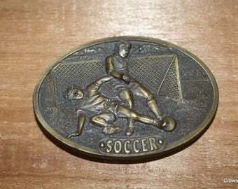 Soccer Belt Buckle - Bergamot Brass Works - 1977 - Vintage - Made in USA - Fashion Accessory