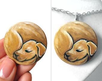 Golden Retriever Dog Necklace, Yellow Labrador, Pet Portrait, Animal Art Jewelry, Memorial Gift for Her, Nap Time, Sleeping Dog