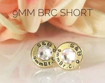 9mm short Bullet Earrings w Swarovski crystal