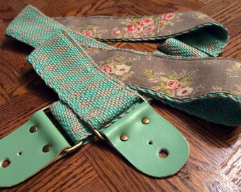 Guitar Strap - Hand Woven Seafoam Gingham with Rose print Backing, Leather Ends - Bass Strap, Instrument Strap, Vintage Roses