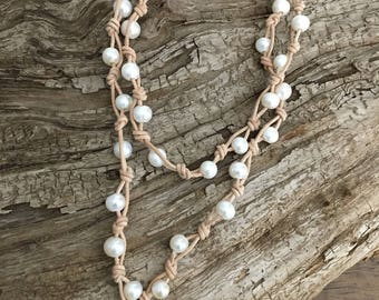 Natural LEATHER and FRESHWATER Pearl Necklace - Bracelet - Wraps Around Wrist 3 Times - Knotted - White Pearls, long necklace, natural tan