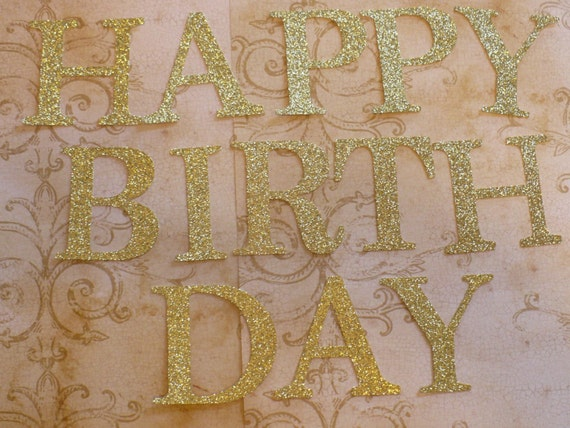 happy birthday gold glitter cardstock letters 3 inch die