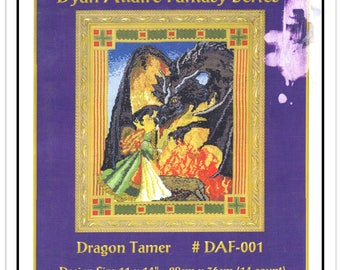 DRAGON TAMER Pattern DAF-001 - Dyan Allaire Fantasy Series - Counted Cross Stitch - Size 11 x 14 on 14-count canvas - Vtg 1999