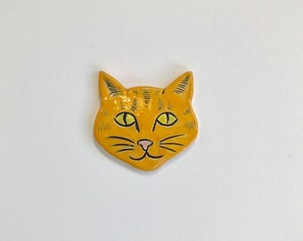Orange cat ceramic tile piece mosaic accent decorative kitty tabby